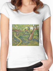 View of Arles with Trees in Blossom, Van Gogh art alternation Women's Fitted Scoop T-Shirt