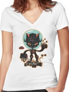 Dj Hammerhand cat - Party at OGM garden Women's Fitted V-Neck T-Shirt