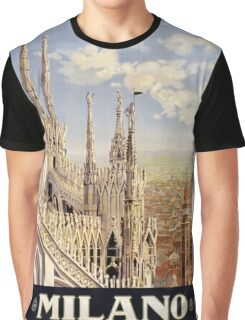 Vintage 1920 Milan Italy Travel Poster Graphic T-Shirt