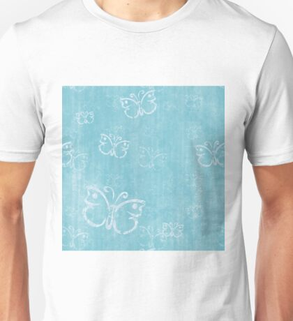 White Butterflies on Distressed Blue Background Unisex T-Shirt
