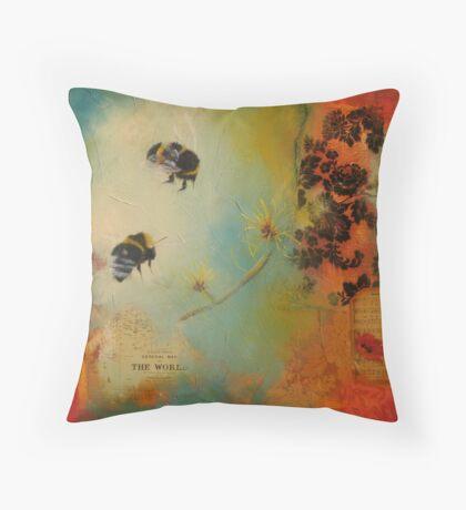 World Bumble Bee Throw Pillow