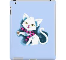 I love COFFEE! white cat holding a takeaway cup iPad Case/Skin