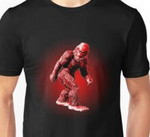 Bigfoot Sasquatch Walking Stylized Black and Red Unisex T-Shirt