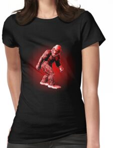 Bigfoot Sasquatch Walking Stylized Black and Red Womens Fitted T-Shirt
