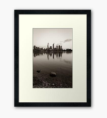 Perth City Skyline in Duotone Framed Print