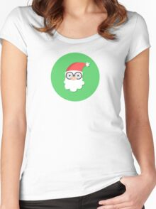 Santa on Green Women's Fitted Scoop T-Shirt