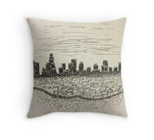 Hand Drawn L.A. Skyline In Ink Throw Pillow
