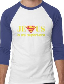 Jesus Is My Superhero Men's Baseball ¾ T-Shirt