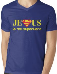 Jesus Is My Superhero Mens V-Neck T-Shirt