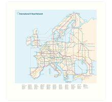 European E-Road Network as a Subway Map Art Print