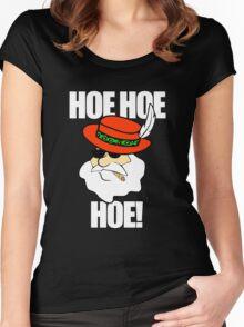 Hoe Hoe Hoe! Pimp Santa Smoking Sunglasses Women's Fitted Scoop T-Shirt