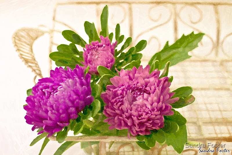 Asters In Tray - Digital Art Oil Painting by Sandra Foster