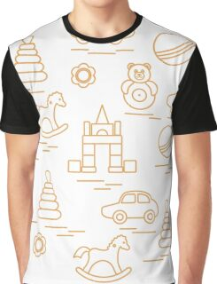 Vector illustration kids elements arranged in a circle: car, pyramid, roly-poly, ball, cubes, rocking horse, rattle. Graphic T-Shirt