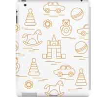 Vector illustration kids elements arranged in a circle: car, pyramid, roly-poly, ball, cubes, rocking horse, rattle. iPad Case/Skin