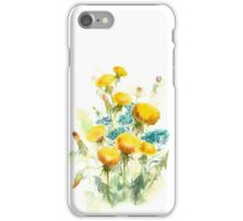 The flowers of the field . Dandelions and forget-me-nots . Watercolor .  iPhone Case/Skin