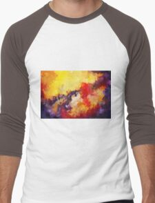 Abstract impressionist red yellow purple Men's Baseball ¾ T-Shirt