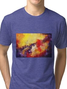 Abstract impressionist red yellow purple Tri-blend T-Shirt