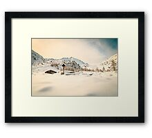 Alpine hut covered by the snow Framed Print