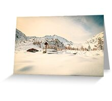 Alpine hut covered by the snow Greeting Card