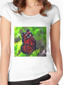 abstract butterfly insect flowers Women's Fitted Scoop T-Shirt