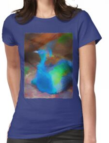 Blue Peacock under a Tree Womens Fitted T-Shirt