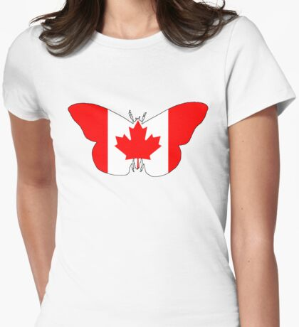 Canada Butterfly Womens Fitted T-Shirt
