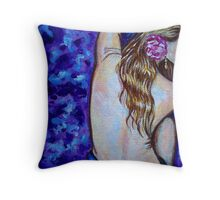Lady With Rose In Her Hair Throw Pillow