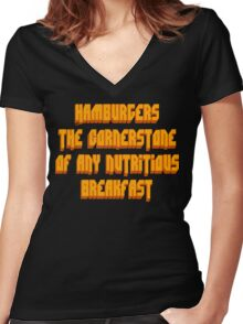 Pulp Fiction - Hamburgers The Cornerstone Of Any Nutritious Breakfast Women's Fitted V-Neck T-Shirt