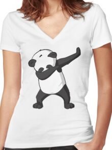 -DAB- Panda DAB Women's Fitted V-Neck T-Shirt