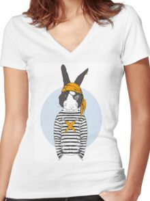 Pirate Rabbit Women's Fitted V-Neck T-Shirt