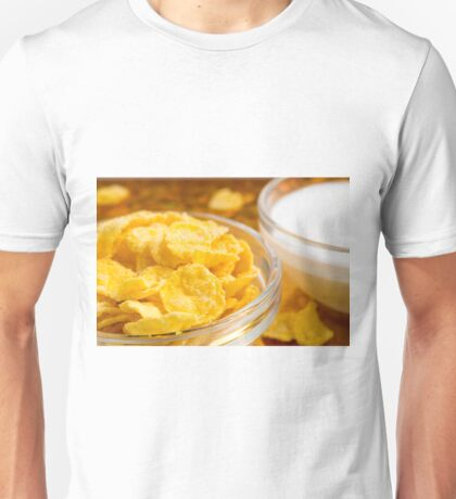 View close-up of milk and a glass bowl of cornflakes Unisex T-Shirt