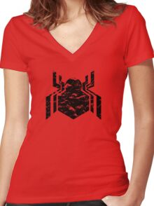 Spiderman Logo - Civil War (Black) Women's Fitted V-Neck T-Shirt