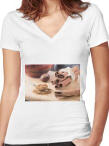 Ingredients for cooking in the kitchen Women's Fitted V-Neck T-Shirt
