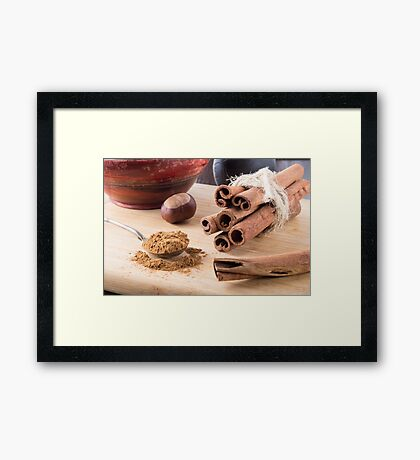 Ingredients for cooking in the kitchen Framed Print