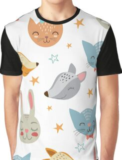 Super cute smiley animals pattern Graphic T-Shirt