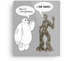 Baymax and Groot Metal Print