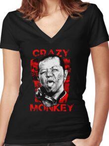 Jun Kasai - Crazy Monkey Women's Fitted V-Neck T-Shirt
