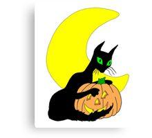 Black Cat Crescent Moon Canvas Print