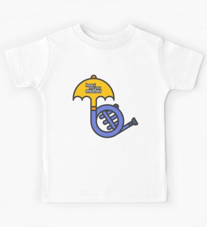 Blue French Horn/Yellow Umbrella How I met your mother Kids Tee