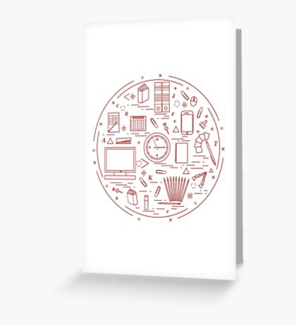 Set of different office objects arranged in a circle. Including icons of paper clips, buttons, pencils, glue, monitor, clock and other. Greeting Card