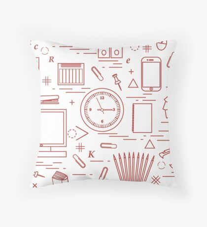 Set of different office objects arranged in a circle. Including icons of paper clips, buttons, pencils, glue, monitor, clock and other. Throw Pillow