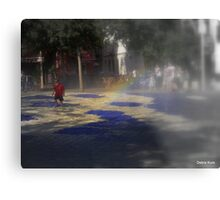 SEVILLE BOY DANCES IN FOUNTAIN WITH RAINBOW Metal Print