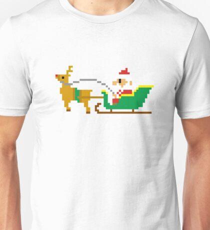 Funny Pixel Santa Claus Reindeer Sleigh Christmas Unisex T-Shirt