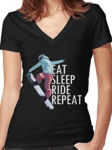 Eat Sleep Ride Repeat Snowboard T-Shirt Women's Fitted V-Neck T-Shirt