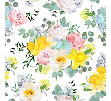 Summer sunny floral seamless vector pattern. Peony, rose, narcissus, carnation, echeveria succulent, brunia, pink and yellow flowers. Photographic Print