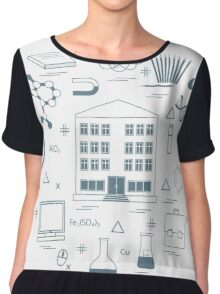 Vector illustration of variety scientific, education elements in a circle.  Chiffon Top