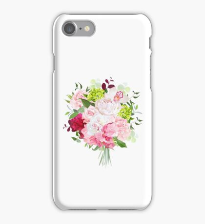 Beautiful vector bouquet with peony, rose, carnation, hydrangea, orchid, green plants on white vector design set. Bunch of flowers in modern mixed style. All elements are isolated and editable. iPhone Case/Skin