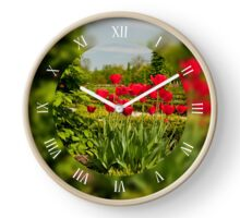 Ulmus or elm and red tulips Clock