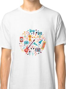 Music instruments in colourful drawing Classic T-Shirt