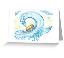Lost in Giant Wave Greeting Card